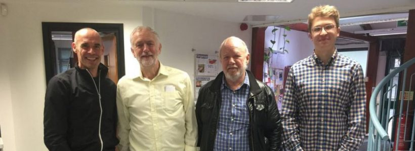 Jeremy Corbyn standing with chaps from The Friends Of Finsbury Park