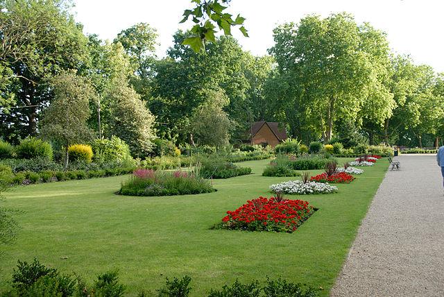 trees lawn n flowerbeds
